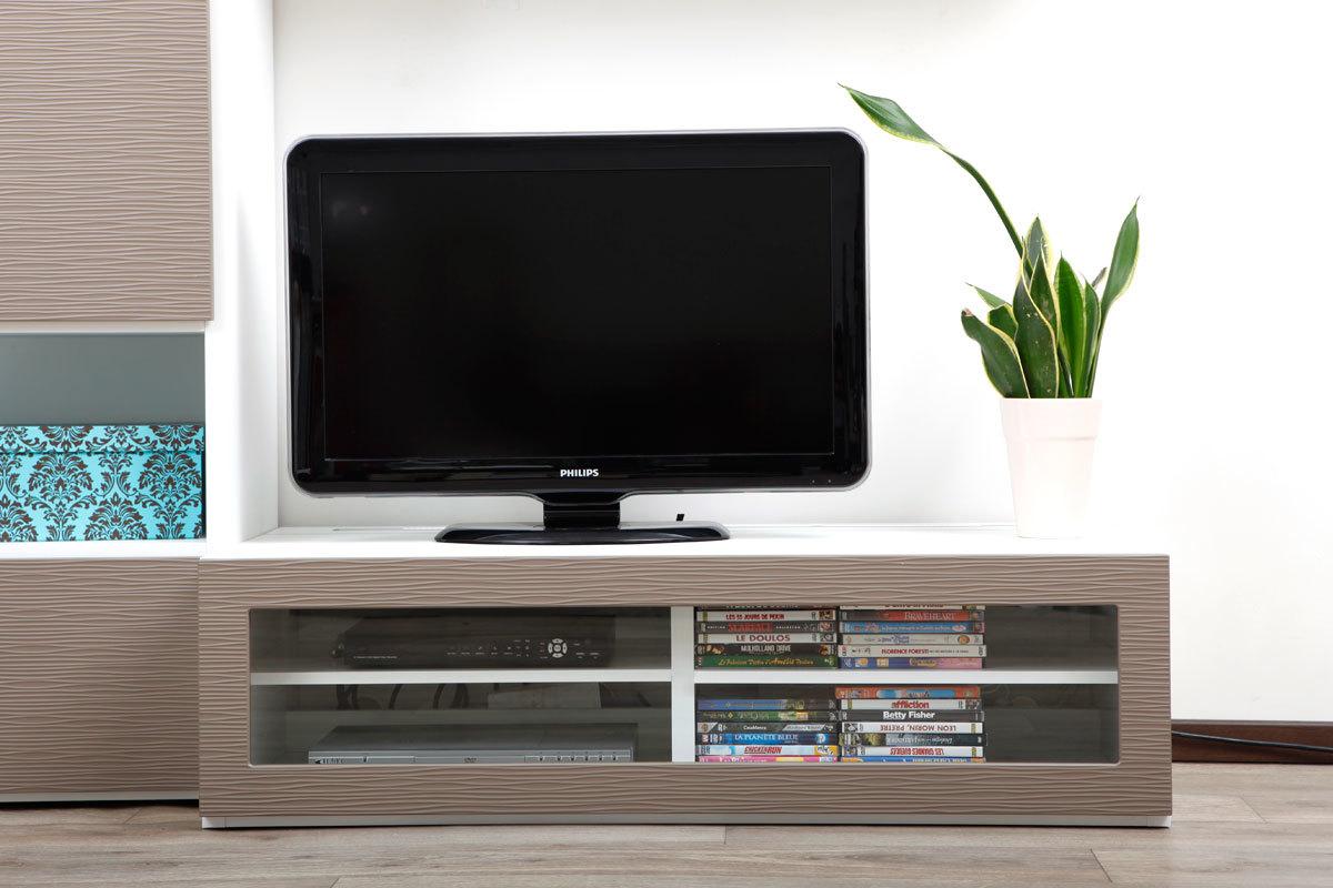 Meuble tv design taupe alessia - Meuble tv design taupe ...