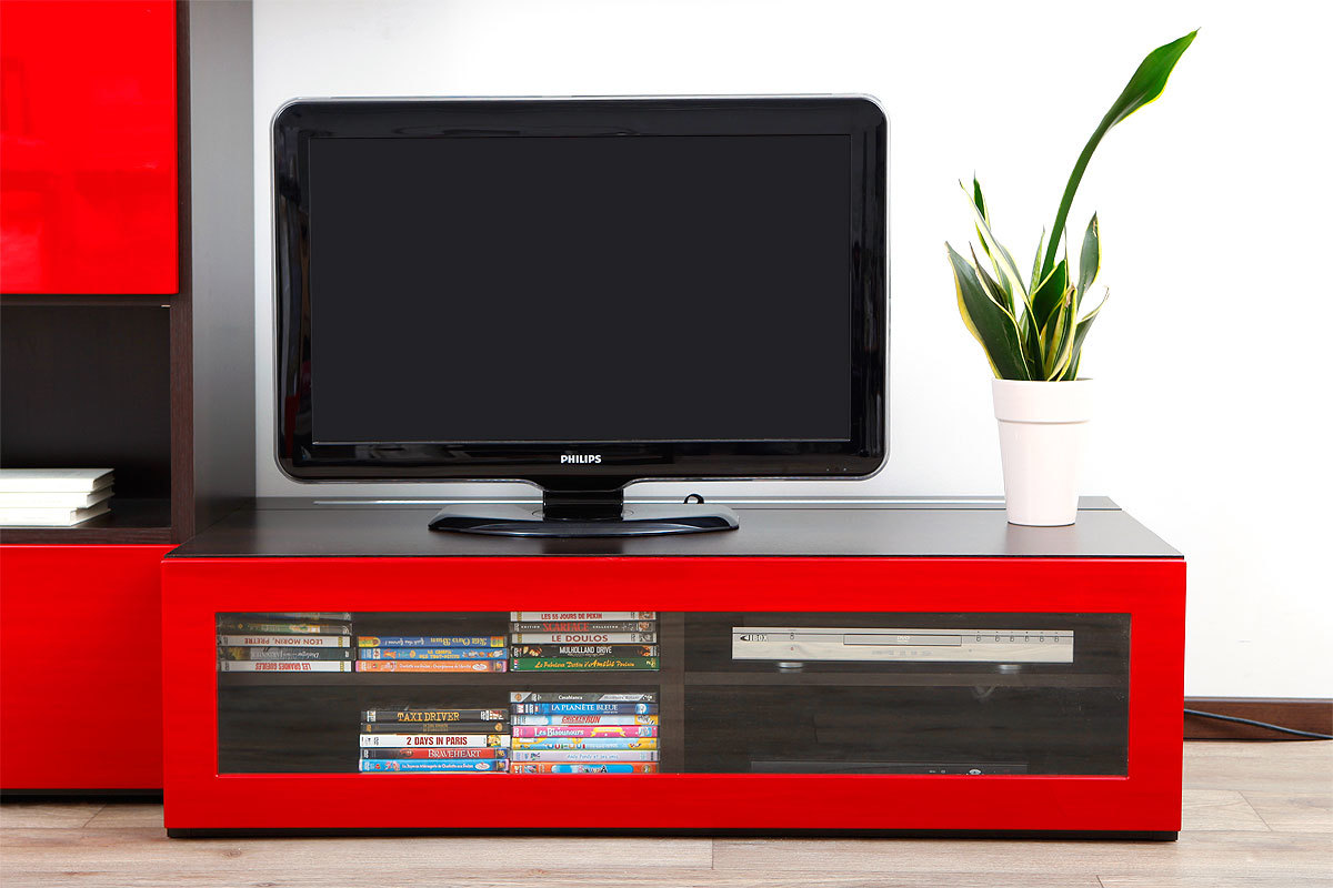 Meuble tv design lumineux m chocolat et rouge laqu for Meuble tv rouge but