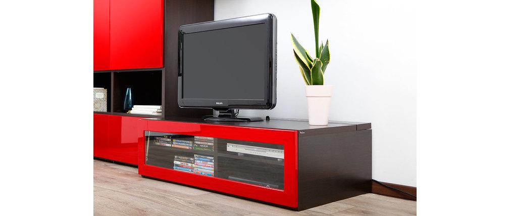 Meuble tv design lumineux m chocolat et rouge laqu for Meuble tv rouge