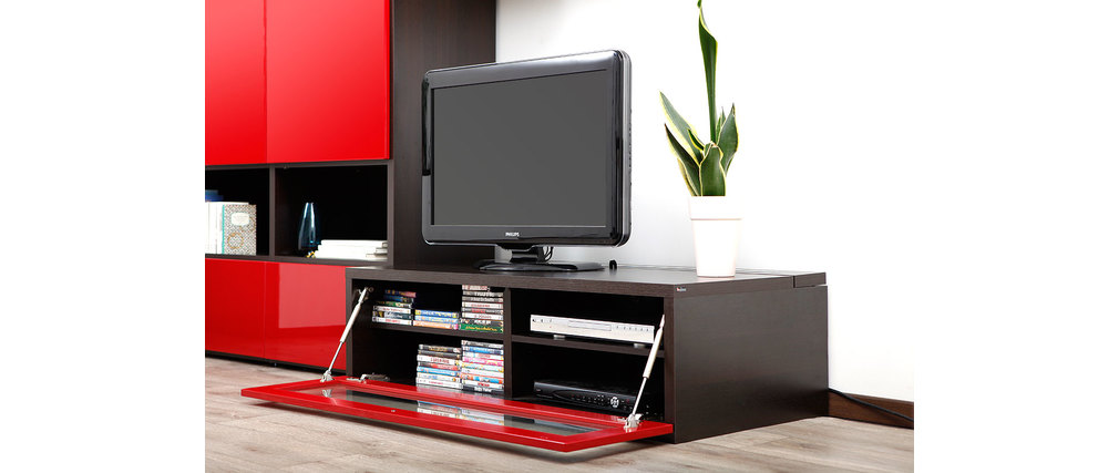Meuble tv design rouge laque sammlung von - Meuble tv rouge et noir ...