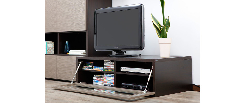 meuble tv design lumineux m chocolat et taupe. Black Bedroom Furniture Sets. Home Design Ideas