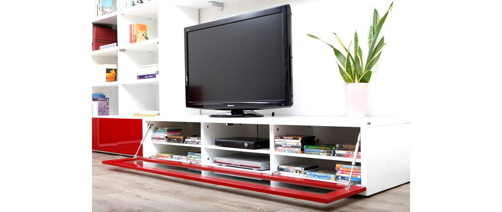merveilleux meuble tv rouge et blanc 9 meuble tv blanc laque sans pied meuble tv design lumineux 189 m blanc et rouge - Meuble Tv Blanc Laque Sans Pied