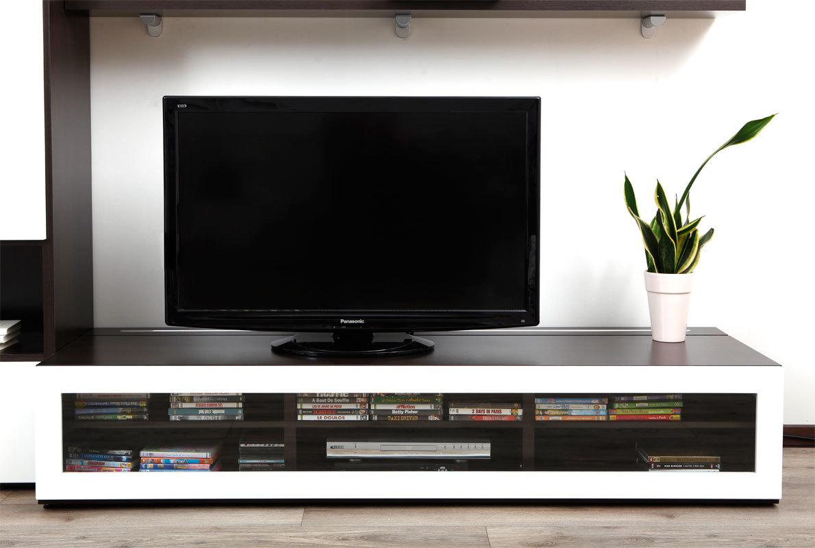 Meuble TV design lumineux 189 m chocolat et blanc laqué SYMBIOSIS  Miliboo -> Meuble Tv Design Lumineux Oxford
