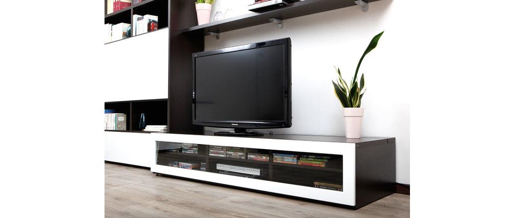 Meuble TV design lumineux 189 m chocolat et blanc laqué SYMBIOSIS  Milib -> Meuble Tv Design Lumineux Oxford