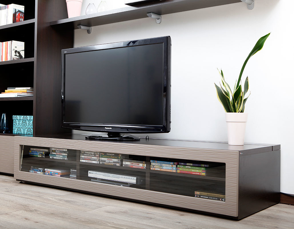 meuble tv design lumineux m chocolat et taupe. Black Bedroom Furniture Sets. Home Design Ideas
