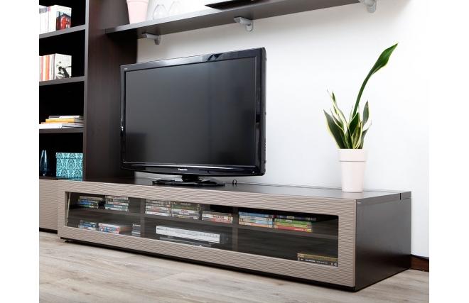 meuble tv design lumineux m chocolat et taupe symbiosis miliboo. Black Bedroom Furniture Sets. Home Design Ideas