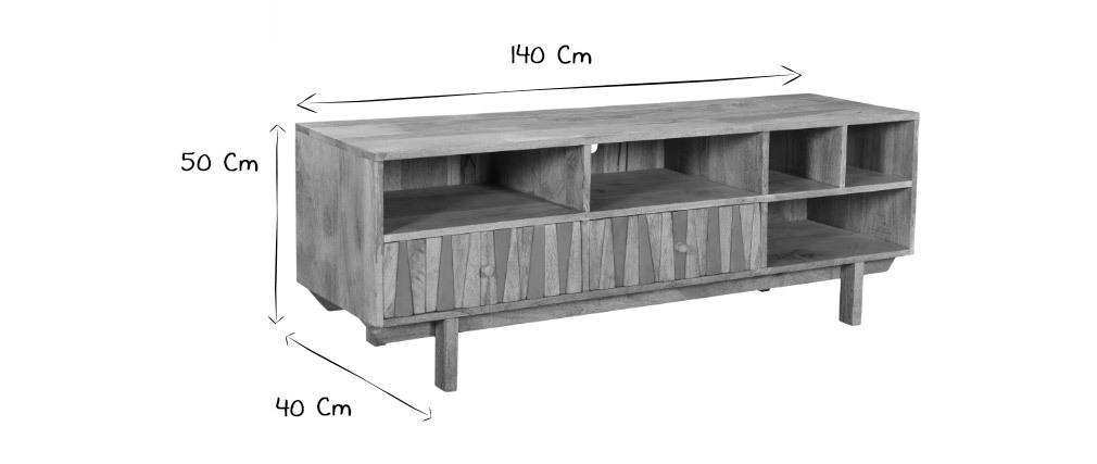 Meuble TV design manguier et laiton ZAIKA