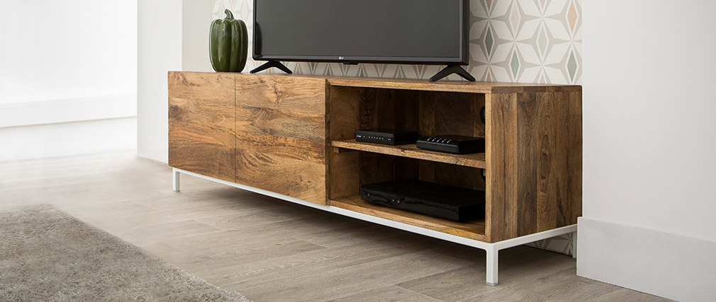 Meuble TV design manguier et métal blanc 145cm BOHO