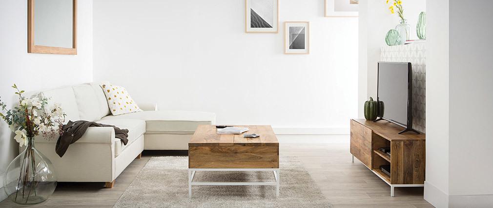 Meuble TV design manguier massif et métal blanc 145cm BOHO