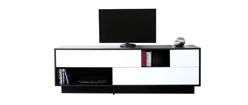 meuble tv design noir et blanc futura miliboo. Black Bedroom Furniture Sets. Home Design Ideas