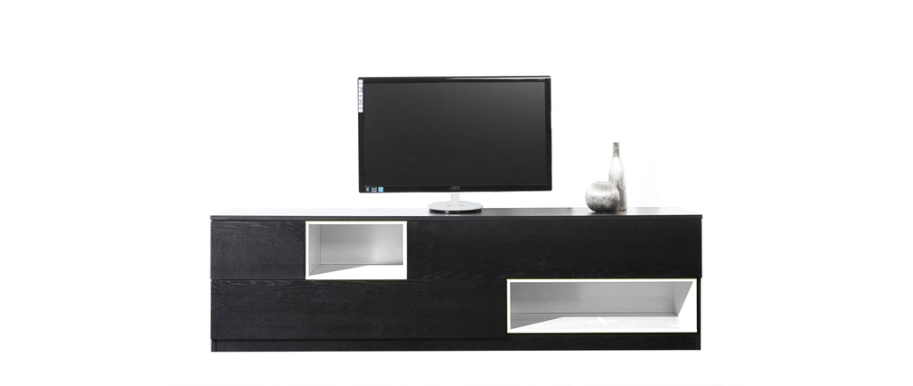 Meuble tv design noir et blanc modulable cubik miliboo for Photo meuble tv design