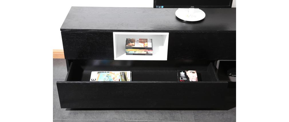 Meuble TV design noir et blanc modulable CUBIK - Miliboo