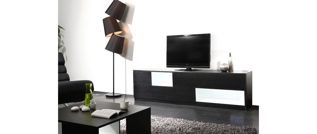 Meuble TV design noir et blanc modulable CUBIK, aspect technique :