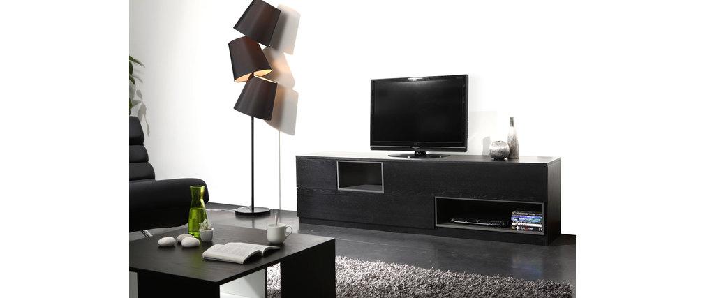 Meuble tv design noir et gris modulable cubik miliboo for Meuble tv modulable