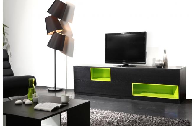 Meuble Tv Modulable : Tv » Meuble Tv Design » Meuble Tv Design Noir Et Vert Modulable