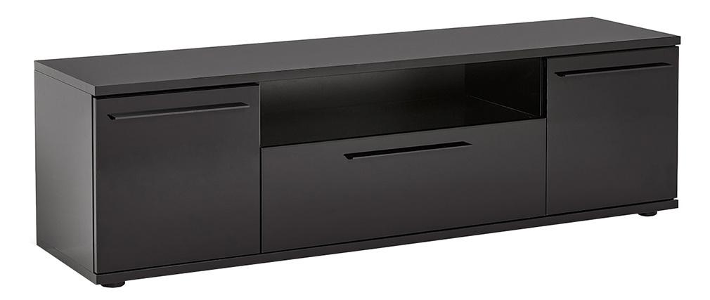 Meuble TV design noir laqué avec rangements PACO