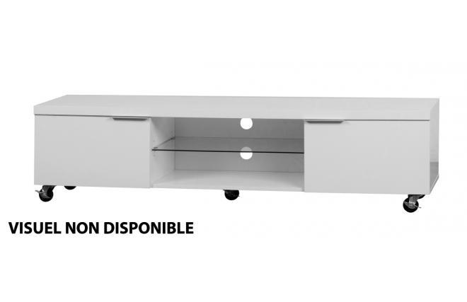 Meuble Tele A Roulettes : Meuble Tv Design Noir Lea 170cm Sur Roulettes 2 Casiers Et 2 Tiroirs