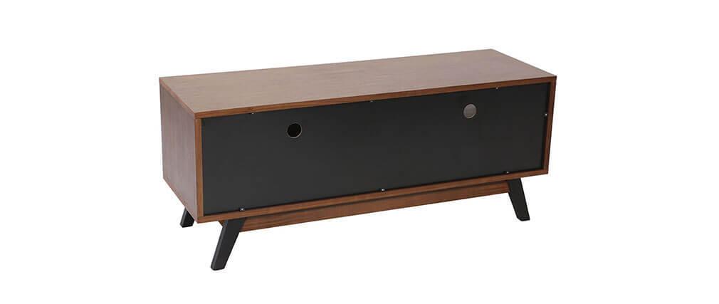 Meuble TV design noyer et noir mat NORMA