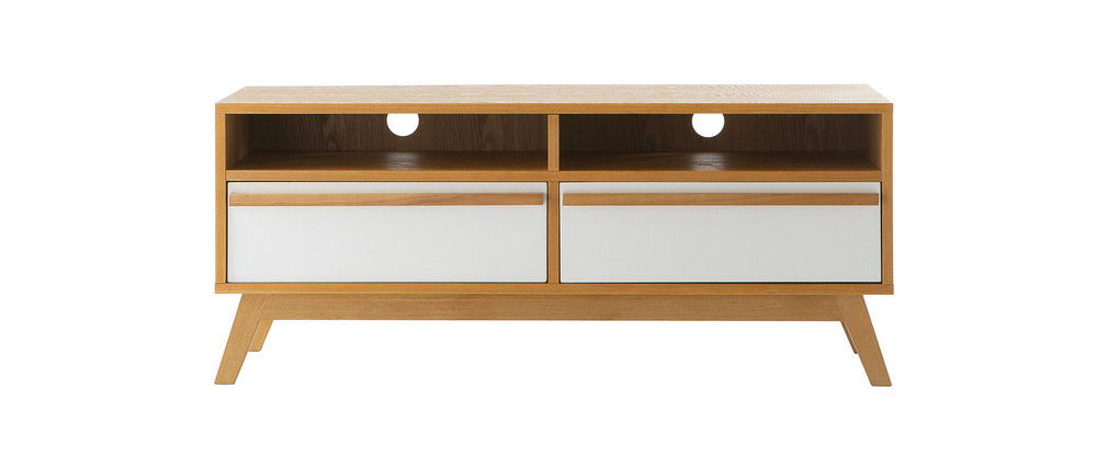 Meuble tv design scandinave helia miliboo for Meuble tv scandinave