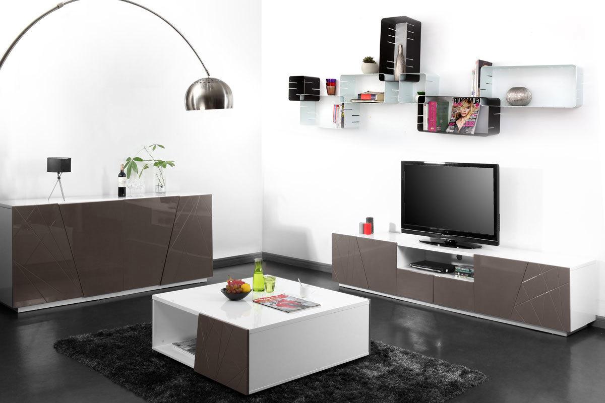 meuble tv design taupe alessia miliboo. Black Bedroom Furniture Sets. Home Design Ideas