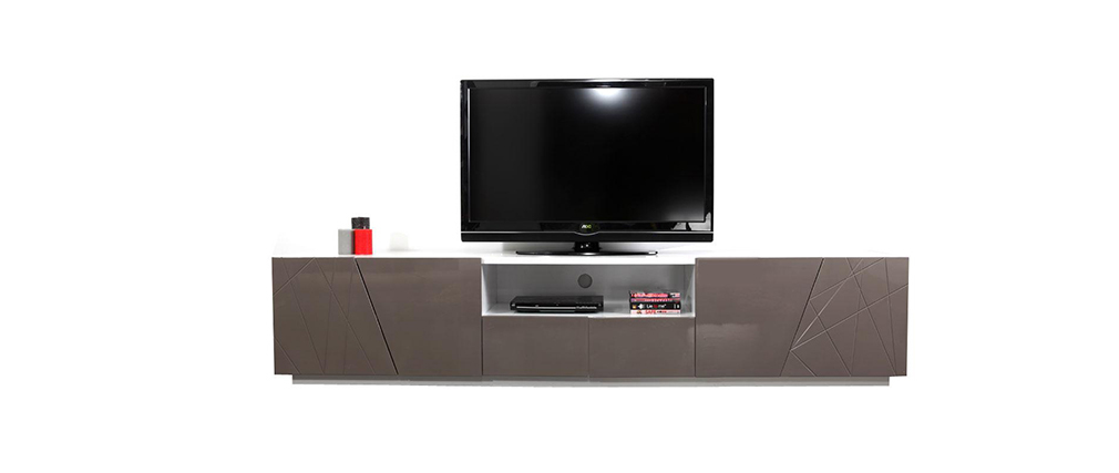 meuble tv design taupe alessia miliboo. Black Bedroom Furniture Sets. Home Design Ideas