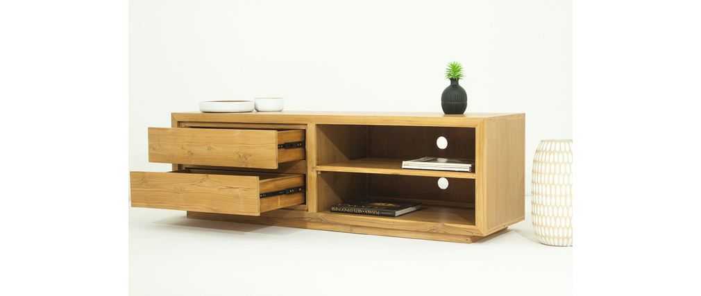 meuble tv design teck massif tektona miliboo. Black Bedroom Furniture Sets. Home Design Ideas