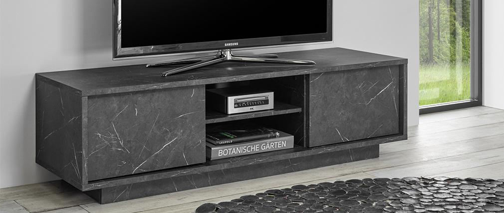 Meuble TV effet marbre noir L138 cm CARRA