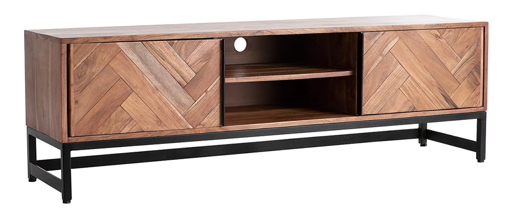 Meuble TV en acacia et métal noir STICK