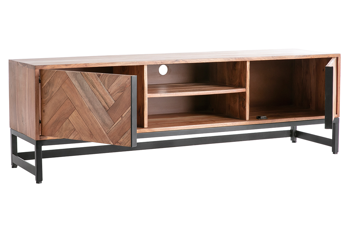 meuble tv en acacia massif et metal