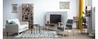 Meuble TV en bois d'acacia et métal noir PINA