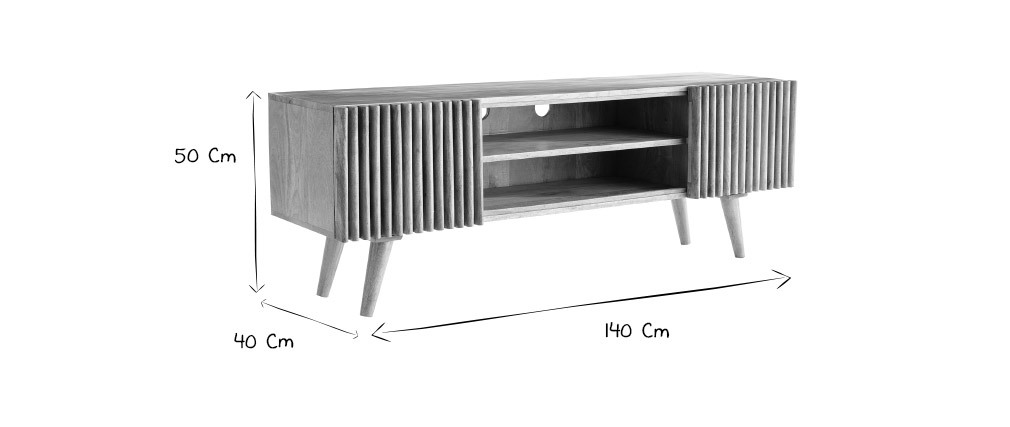 Meuble TV en manguier avec portes coulissantes ALBA - Miliboo & Stéphane Plaza