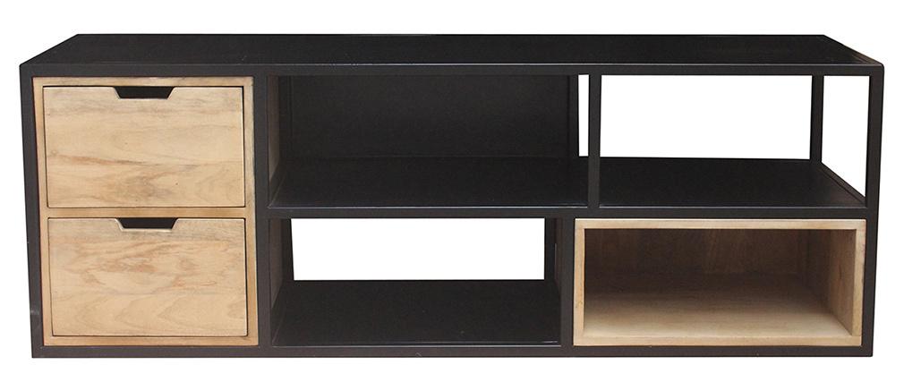 Meuble TV en manguier et métal noir JAIPUR - Miliboo & Stéphane Plaza