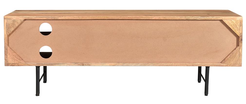 Meuble TV en manguier massif avec portes en relief L120 cm AGRA
