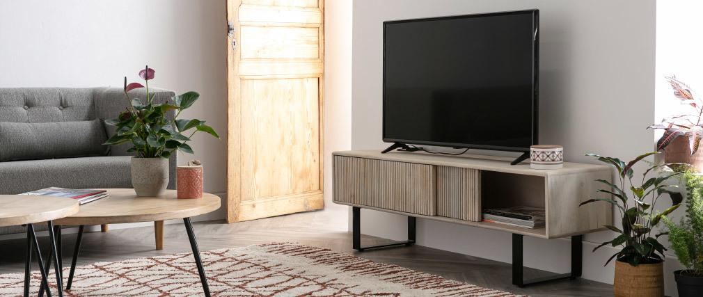 Meuble TV en manguier massif et métal ITER