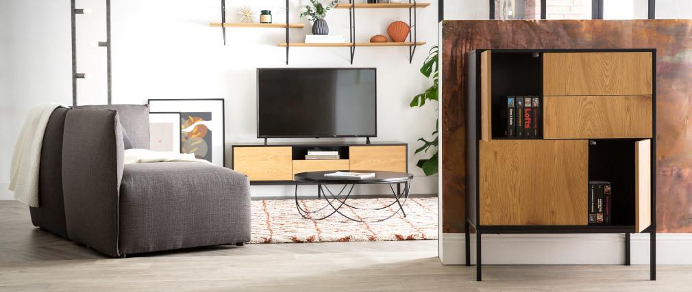 Meuble TV industriel bois et métal L140 cm TRESCA