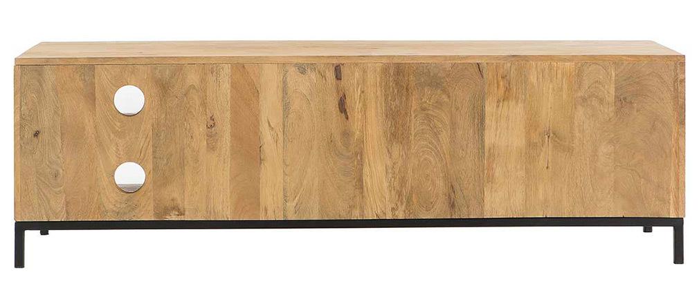 meuble tv industriel en manguier et m tal perfor rack. Black Bedroom Furniture Sets. Home Design Ideas
