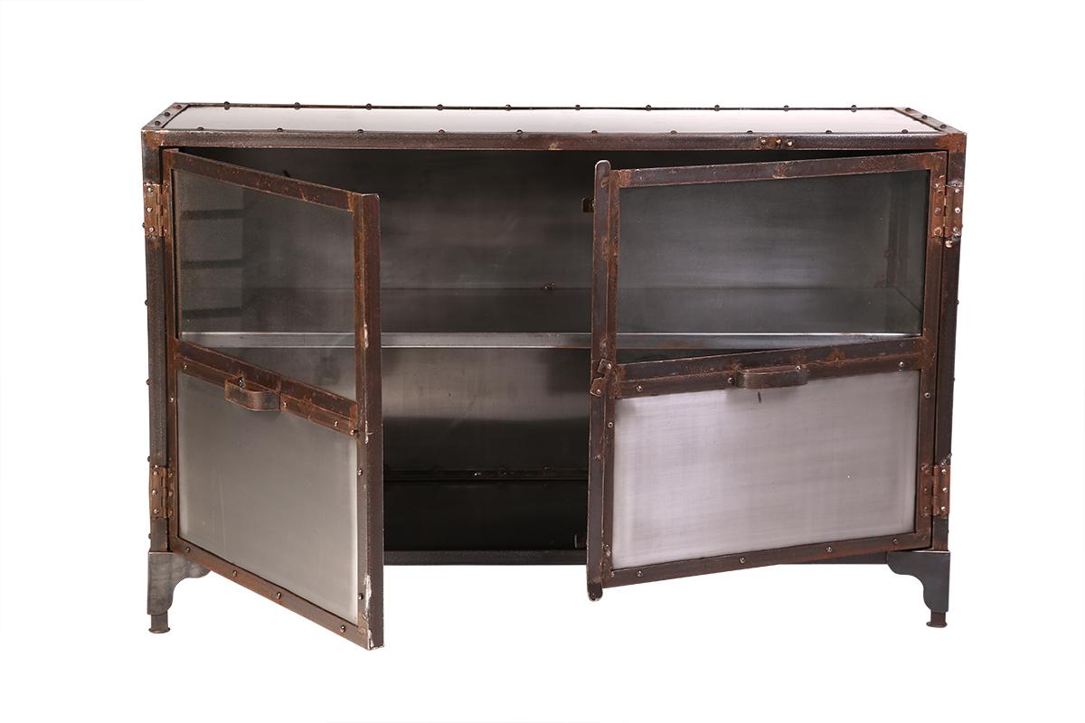 Poignée De Meuble Industrielle meuble tv métal industriel 2 portes factory - miliboo