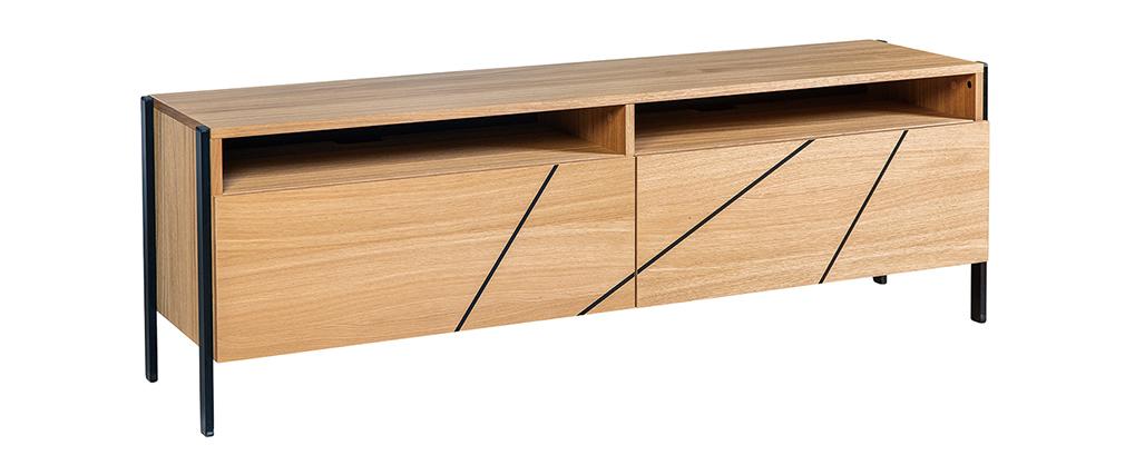 Meuble TV moderne avec motif gravé chêne et métal noir L175 cm ICODE