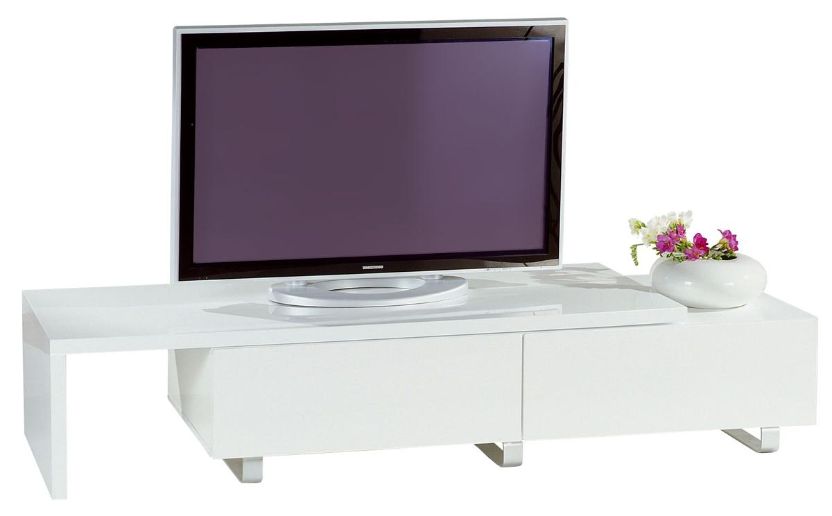 Meuble tv moderne laqué blanc extensible New York