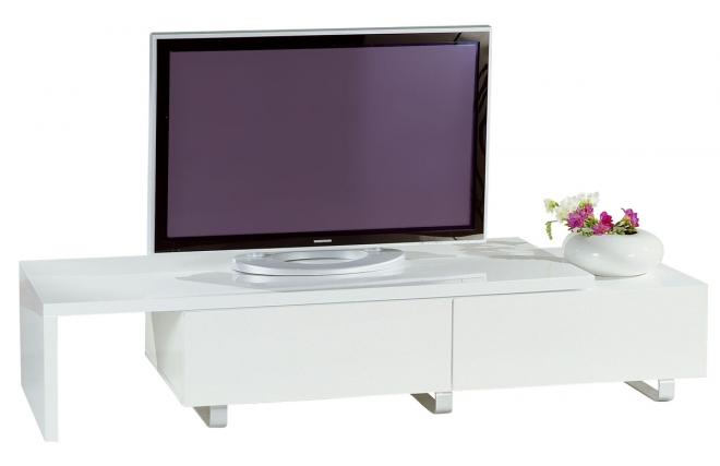 Meuble tv moderne laqué blanc extensible New York  Miliboo -> Meuble Tv Design Blanc New York