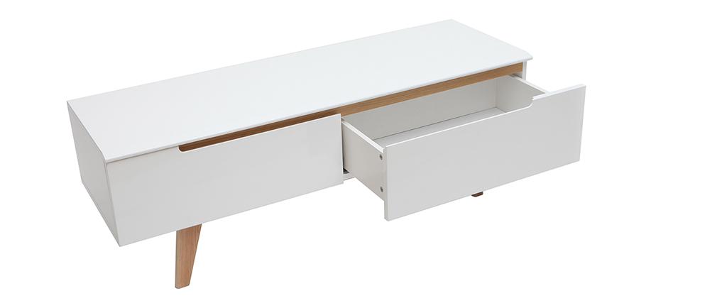 Meuble TV scandinave blanc brillant et bois MELKA - Miliboo & Stéphane Plaza