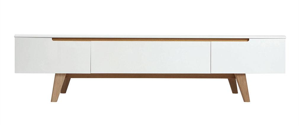 meuble tv scandinave blanc brillant et fr ne 180cm melka miliboo. Black Bedroom Furniture Sets. Home Design Ideas