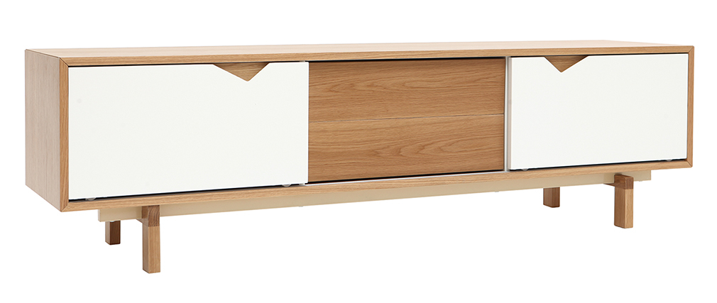 meuble TV scandinave blanc et chêne ACOUSTIC