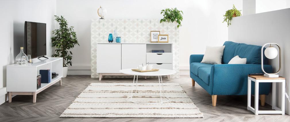 Meuble TV scandinave blanc LEENA