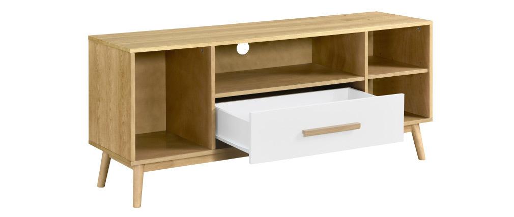 Meuble TV scandinave bois clair et blanc 1 tiroir TALIA
