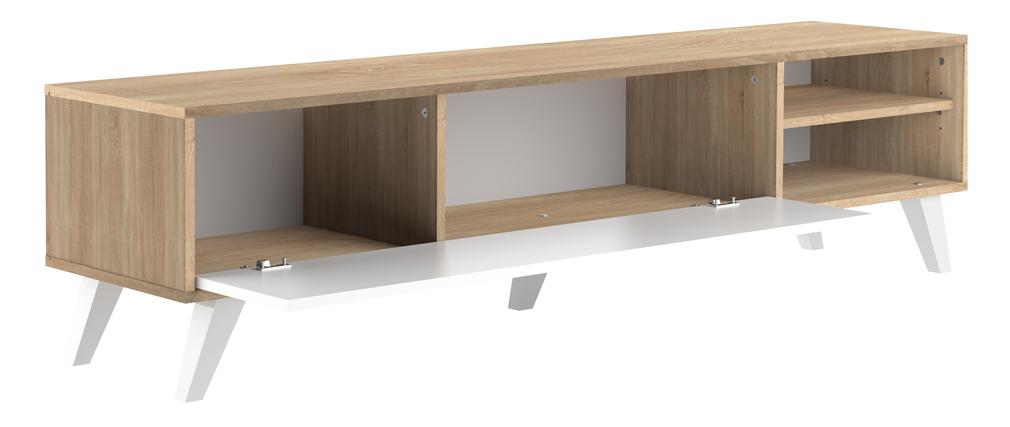 Meuble TV scandinave bois et blanc ORIGAMI