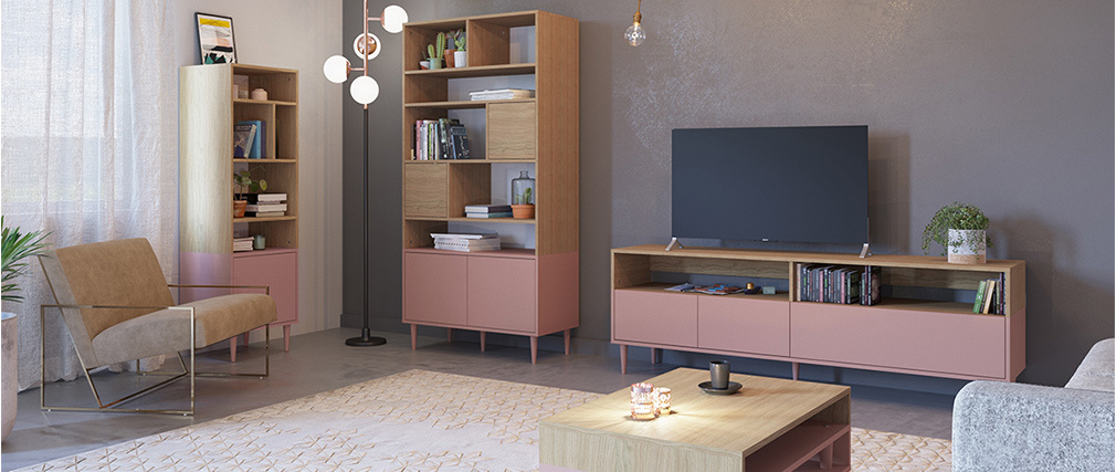 Meuble TV scandinave bois et rose STRIPE