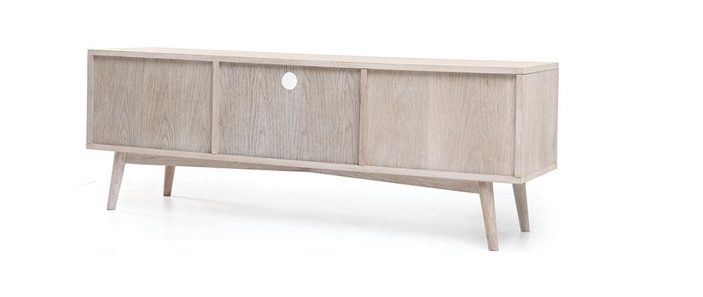 meuble tv scandinave cosmos chêne et blanc – Artzeincom -> Meuble Blanc Scandinave Artzein