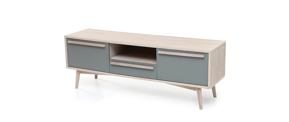 Meuble tv scandinave cosmos chene et blanc solutions for Meuble tv chene et blanc