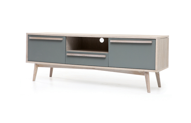 Meuble tv scandinave cosmos chene et blanc solutions for Meuble tv blanc et chene